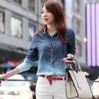 2014 Spring Blouses & Shirts Female Gradient Pattern Cotton Blouse Jeans Women Casual Loose Tops Woman High Street Denim Shirt