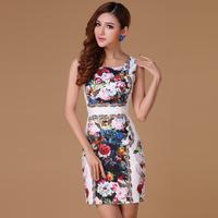 2014 spring and summer women's new arrival gorgeous elegant flower print slim plus size tank dress one-piece dress