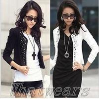 Free Shipping Women Fashion Blazer Rivets Long Sleeve Coat Short Suit Jacket 2Colors 70-4024