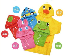 2014 NEW FIT 90-130cm Cartoon Impermeables para niños para niños ropa impermeable y Azul , Verde, Rosa , Rojo, Amarillo(China (Mainland))
