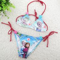 Girls Bikini girls swimwear suit set  2014 New Summer Cartoon Anna Elsa swimsuits for baby girl Bikini costume Kid swimwear