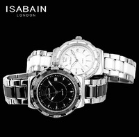 ISABAIN bain elson authentic IB2538M fashion stainless steel quartz lovers watch stone ceramic set auger