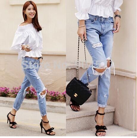 2014 autunno nuovo moda jeans di cotone donne facili a vita bassa lavato vintage grande buco strappato lungo pantaloni denim matita