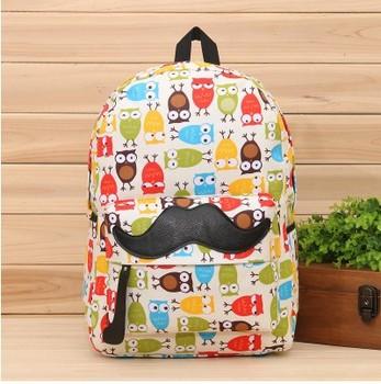 Усы печать девушки рюкзак сова печать мешок школы Хиты 2014 горячее надувательство свежий стиль рюкзак для девочек бесплатная доставка