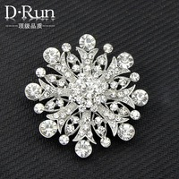 Gold Plated Clear Rhinestone Crystal Jewelry Large Flower Wedding Party Brooch pins---Ac091