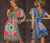 NEW 2014 Summer Fashion Sexy Dress V-Neck Mini Beach Dress Women  Lady's Apparel Women Dresses Women's Clothing  Free Shipping