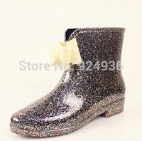 Free Shipping 2014 PVC Women Colorful Bowtie Rubber Flats Heels Waterproof  Shoes Female Rainboots Martin Rain Boots