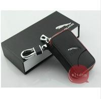 1 Black Leather Car Remote Key Case Fob Zipper Key Bag Holder For Jaguar