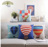 Wholesale! Cartoon hot air balloon  Free shipping NEW Nordic style pillow linen Cotton PillowCase Pillow cover and cushion cover