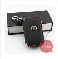 1Pcs Black Leather Car Remote Key Case Fob Zipper Key Bag Holder For Lexus