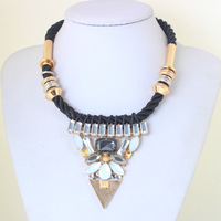 Newest Fashion  Gold Choker Crystal bib Punk geometrical Necklaces & pendant women Jewelry KK-SC616