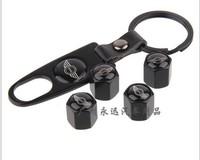 4 pcs BM* MINI Cooper/John cooper works  auto Wheel Tire Valve Stem Air Caps Covers set with car Key chain
