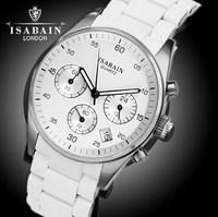 ISABAIN authentic fashion stainless steel quartz watch waterproof  mirror three pointer