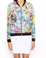 02a1066 новые моды женщин желтых геометрических печати Куртка Пальто длинные пиджаки открытым шов случайные тонкий бренда дизайнер топы