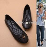 European Spiraea lattice plane bow square toe Ballerina Flat Shoes Women Flats shoes large size 35--41
