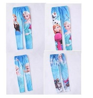CP110 Free Shipping 2014 Frozen Childrens Leggings Fashion Elsa&Anna Printed Fall Cotton Girls Leggings Baby Kids Pants Retail