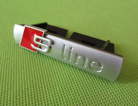 Good Quality 10pcs/lot Matt ABS sline grill emblem s line car badges with clips silver A3 A4 A5 A6 S3 S4 TT Q7 QuattroTT
