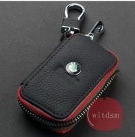 1Pcs Black Leather Car Remote Key Case Fob Zipper Key Bag Holder For SKODA