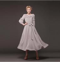 2014 New Fashion Women's Dresses Elegant Romantic Royal Multi-layer Ruffle Collar Grey Color Female Dress