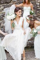 New 2014 Elegant V Neck Pleated A-Line Chiffon Beach Wedding Dress Bride Formal Long Custom Made vestido de noiva 2015