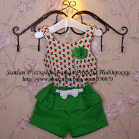 2014summer children t shirt+shorts,litter apple printed,bow tie pleated shorts,cotton active casual fashion setWLC-025FREESHIP