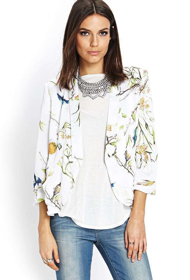 02A1064 Fashion Ladies' sweet tree birds print blazer suit slim outwear three quarter sleeve coat brand designer tops(China (Mainland))