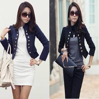 2014 New Korean Fashion Lady Women Long Sleeve Button Slim Peplum Cropped OL Casual Jacket Cardigan 5 Colors Free Shipping 633
