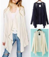 2014 New Women's Fashion Hollow Lace Shoulder Stitching Irregular Knit Cardigan Sweater Coat Cape Shawl jacket Loose Plus Size
