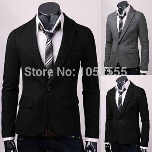 GOOD Smart Mens Men Slim Fit Stylish Casual One Button Suit Coat Jacket Blazer Black Grey Size M L XL XXL MN311(China (Mainland))