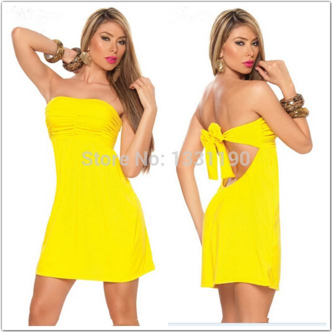 New 2014 summer women Sexy Dress Strapless Boob Tube Top Bow Decor Backless Women's Fashion Sexy Dress Lady Dress Yellow(China (Mainland))