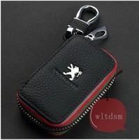 1Pcs Black Leather Car Remote Key Case Fob Zipper Key Bag Holder For Peugeot