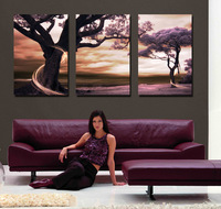 3 Piece Free Shipping Modern Wall Art Home Decoration Purple Tree Large Living Room Oil Painting Pictures on Canvas Prints