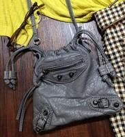 Fashion drawstring cbomb soft leather quality motorcycle for mini small bag bucket bag messenger bag shoulder bag