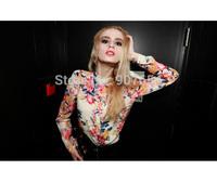 2014 Spring Summer New Women's Collar Loose off the Cuff Leopard Long Sleeved Chiffon Long Shirt