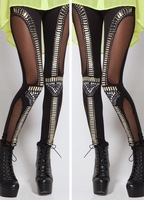 2014 promotion print women leggings 20142 color new women sexy fishnet trim studded rock legging punk fitness woman pants 03