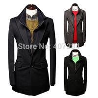2014 autumn and winter detachable double collar wool men overcoat men ourwear