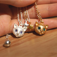 New Korean Summer Style Women s Jewelry Cute Little Cat Pendant Star Necklaces