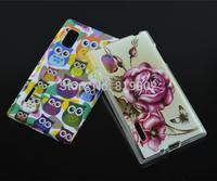 Cartoon Cute Owl Beauty Flowers TPU Soft Skin Cover Back Case For LG Optimus L5 E610 E612 phone case + free gift