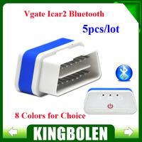 5PCS/LOT 100% Original Vgate iCar2 Bluetooth OBD Scanner iCar 2 elm 327 Diagnostic Interface for Android PC