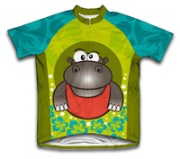 road bike cycling !!! Flowery Hippo Short Sleeve Kids Cycling Jersey bike/cycle/bicycle jersey children cycling clothing