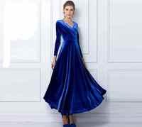 New Arrival Autumn women long sleeve floor-length velvet dress plus size new fashion 2014 women maxi Velour dresses