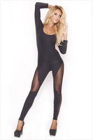 Sexy Womens O-Neck Long Sleeve Hollow Out Clubwear Bodycon Black Jumpsuit For Women Romper Bodysuit Clubwear Siamese Pants