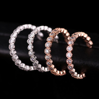 Simple C-type earrings fashion basic models zircon inlay Bright CZ Crystal quality PFP Price