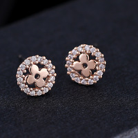 BR1937 Korean female retro cute fashion wholesale Micro Pave Zircon Crystal Rose Gold Flower Stud Earrings
