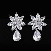 Classic 3A Cubic Zircon Sun flower With Tear Full Crystal Stud Earrings Korean Fashion Women Jewelry