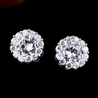 8KG Plated 2014 New Style Korean Elegant Gorgeous Sparking Rhinestone Multi Color Zircon Round Stud Earrings