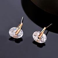 Korean simple Design exquisite geometric models AAA Cubic zircon Beaded crystal Stud earrings 1 Pair