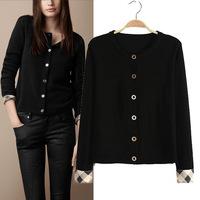 2014 New Fashion autumn women knitwear O-neck Classic grid round collar cuffs slim casual sweater, WH180132