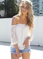 2014 new fashion women Lace Blouses Shirt Lady's off shoulder Slash Neck Lace Blusas Women Tops Sheer Floral  Sexy BlouseLR0030