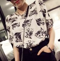 New 2014 Summer Women T shirt Korean Loose Lovely Cat  Print Cotton Short Sleeve Casual Tops  girl t shirt women Free Shipping